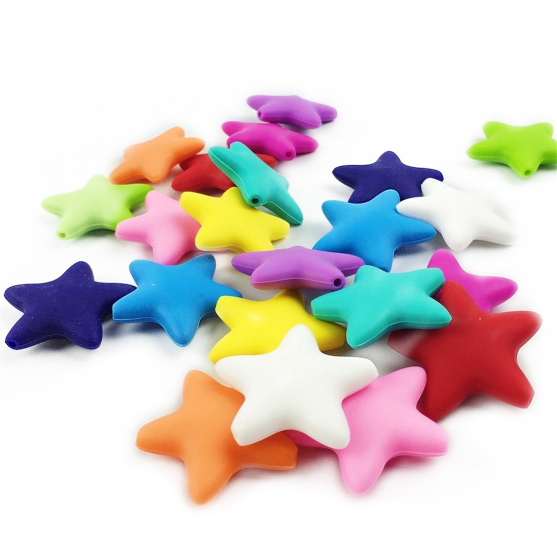 10pc 37mm Large Silicone Five-pointed Star Beads Teether More Than 5 Colors Mixed Colors Diy Accessories