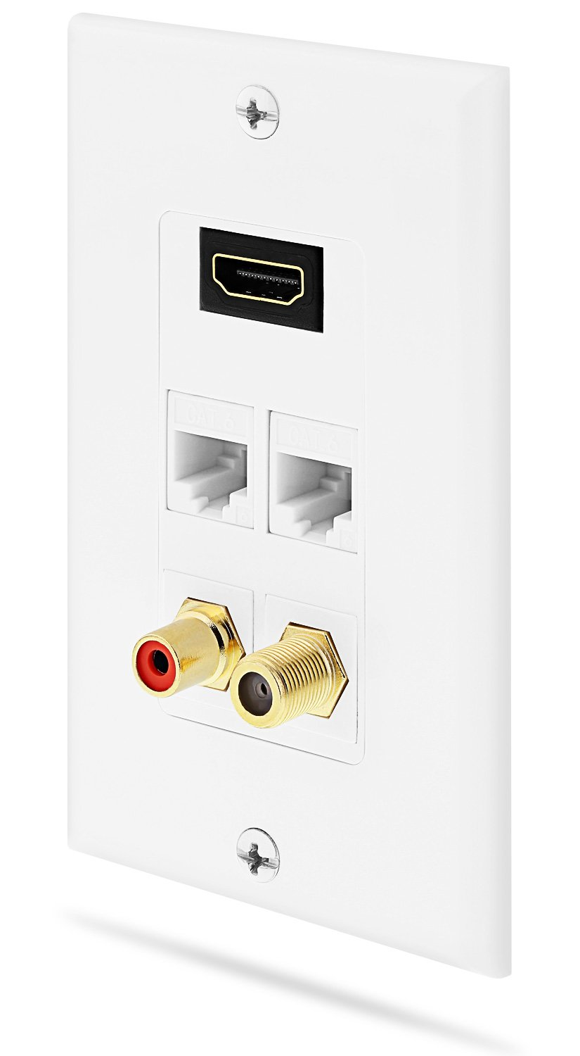 Fosmon Wall Plate with Gold-Plated High Speed HDMI Port (Ethernet Compatible), Dual RJ45 Ethernet Ports, F Jack Coaxial Ports and RCA Audio Port - White (Fosmon Retail Packaging) Fosmon Technology HD1921