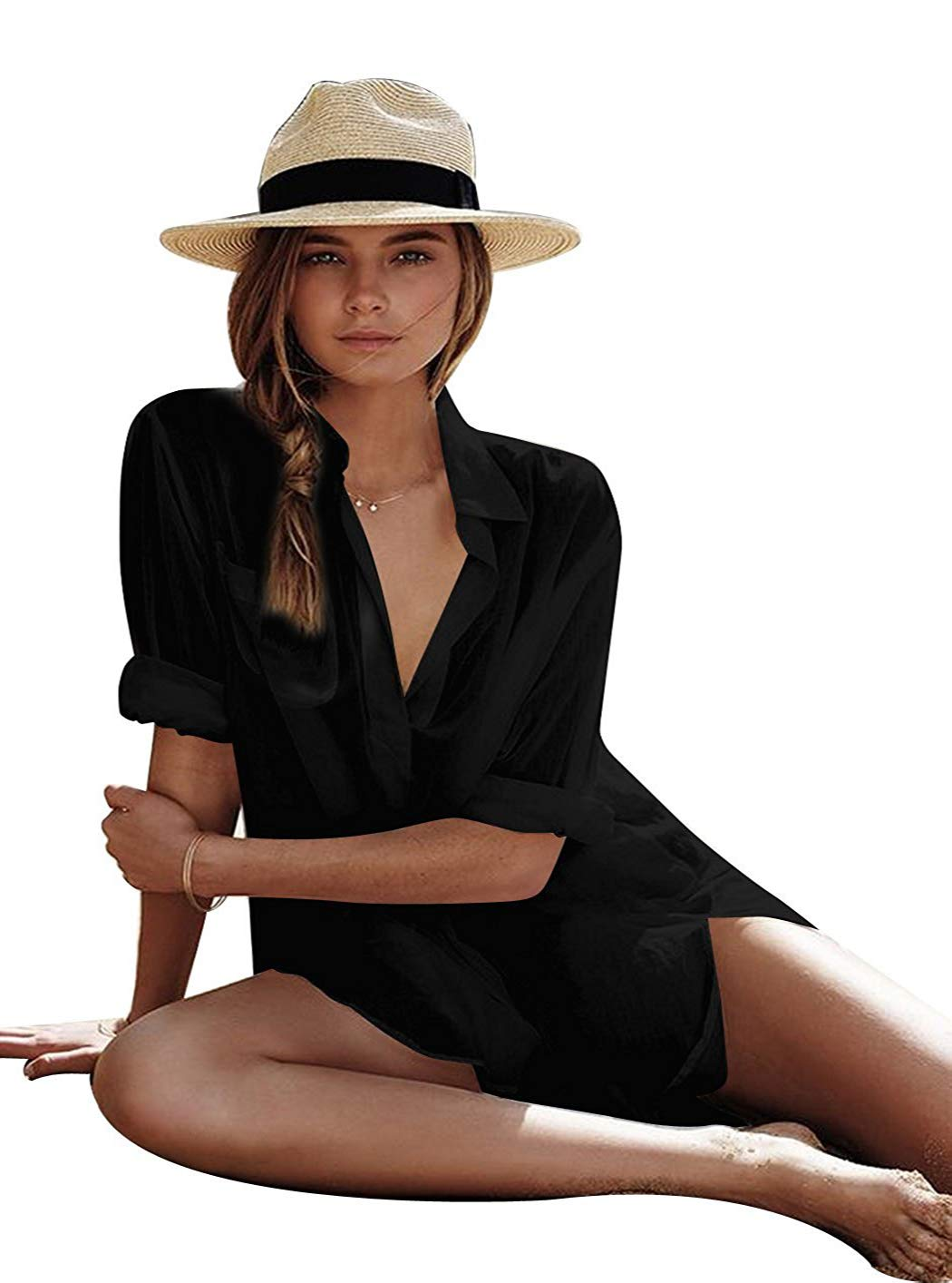OURS Women's Sexy Cotton V-Neck Summer Beachwear Solid Swimsuit Cover Up Dress (XXL, Black)