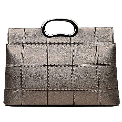 ADEMI Bolso De Señora Fashion Handbag Women Pu Taleguilla De Cuero Bolso De Hombro De Patrón De Celosía Gold