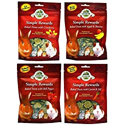 Oxbow Simple Rewards All Natural Oven Baked Treats for Rabbit, Guinea Pigs, Hamsters, and Other Small Animals Variety Pack - 4 Flavors (Apple & Banana, Bell Pepper, Carrot & Dill, and Cranberry) - 2 Ounce Resealable Bags (4 Pouches Total)