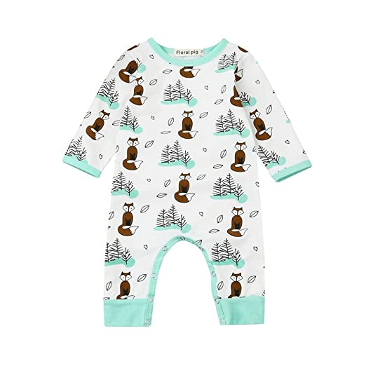 f76a035210dc8c Coerni Premium Cute Cotton Infant Baby Fox and Tree Romper Jumpsuit (70