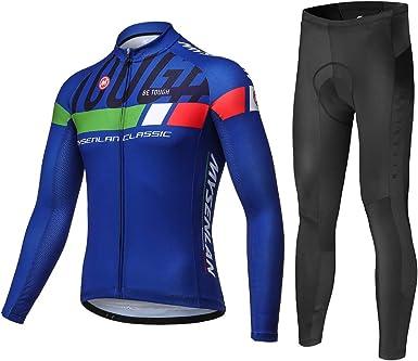 Men/'s Cycling Sets Long Sleeve Jersey Bib Tights Padded MTB Bike Kits Breathable