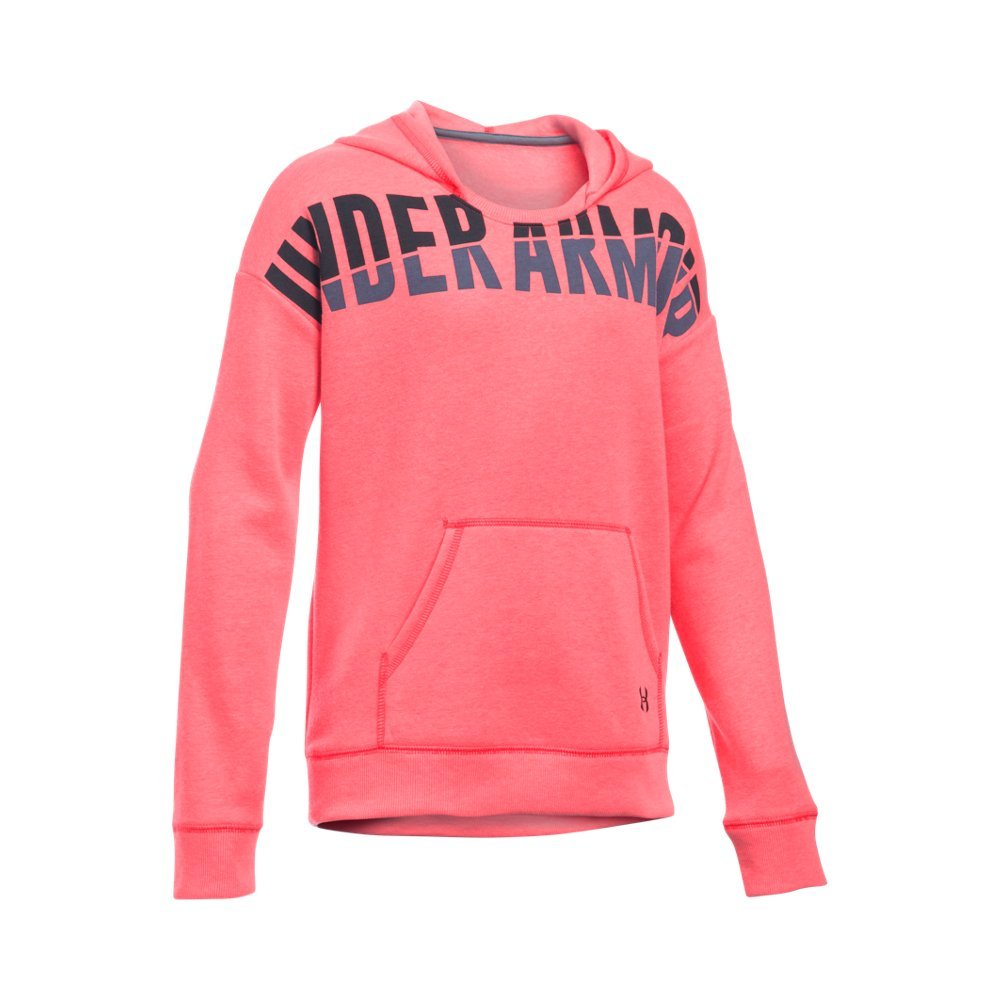 Under Armour Girls' Favorite Fleece Hoodie, Pink Chroma/Black, Youth Large by Under Armour