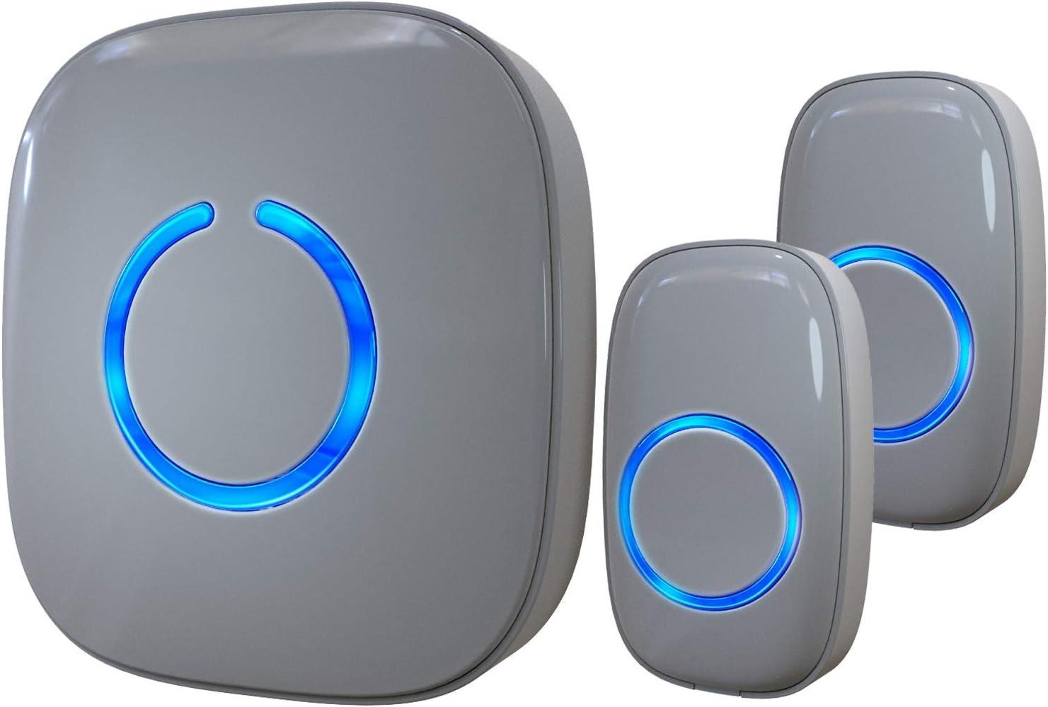 Wireless Doorbell by SadoTech – Waterproof Door Bells & Chimes Wireless Kit – Over 1000-Foot Range, 52 Door Bell Chime, 4 Volume Levels with LED Flash – Wireless Doorbells for Home – Model CX (Gray)