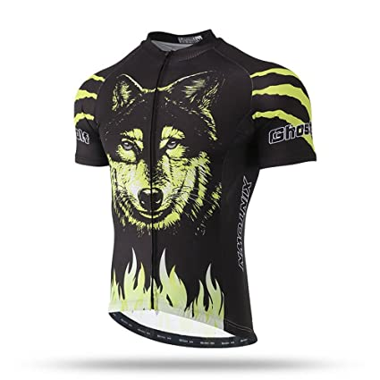 Pinjeer Yellow Flame with Wolf Printing Quick Dry Summer Pro 2018 Cycling  Jersey Clothing for Men 20f09f34e
