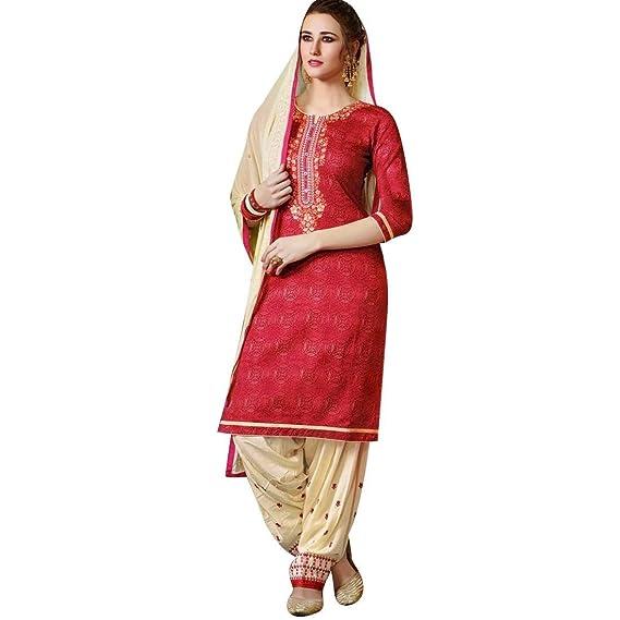 84ba7b9714 Ladyline Readymade Palazzo Pants Embroidered Cotton Salwar Kameez Suit  Indian Dress: Amazon.co.uk: Clothing