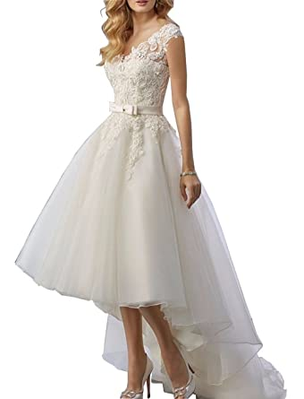 de71e59cffcd2 Wedding Dress Lace Long Skirt Before Short Bridal Dress Backless High Low  Wedding Party at Amazon Women's Clothing store: