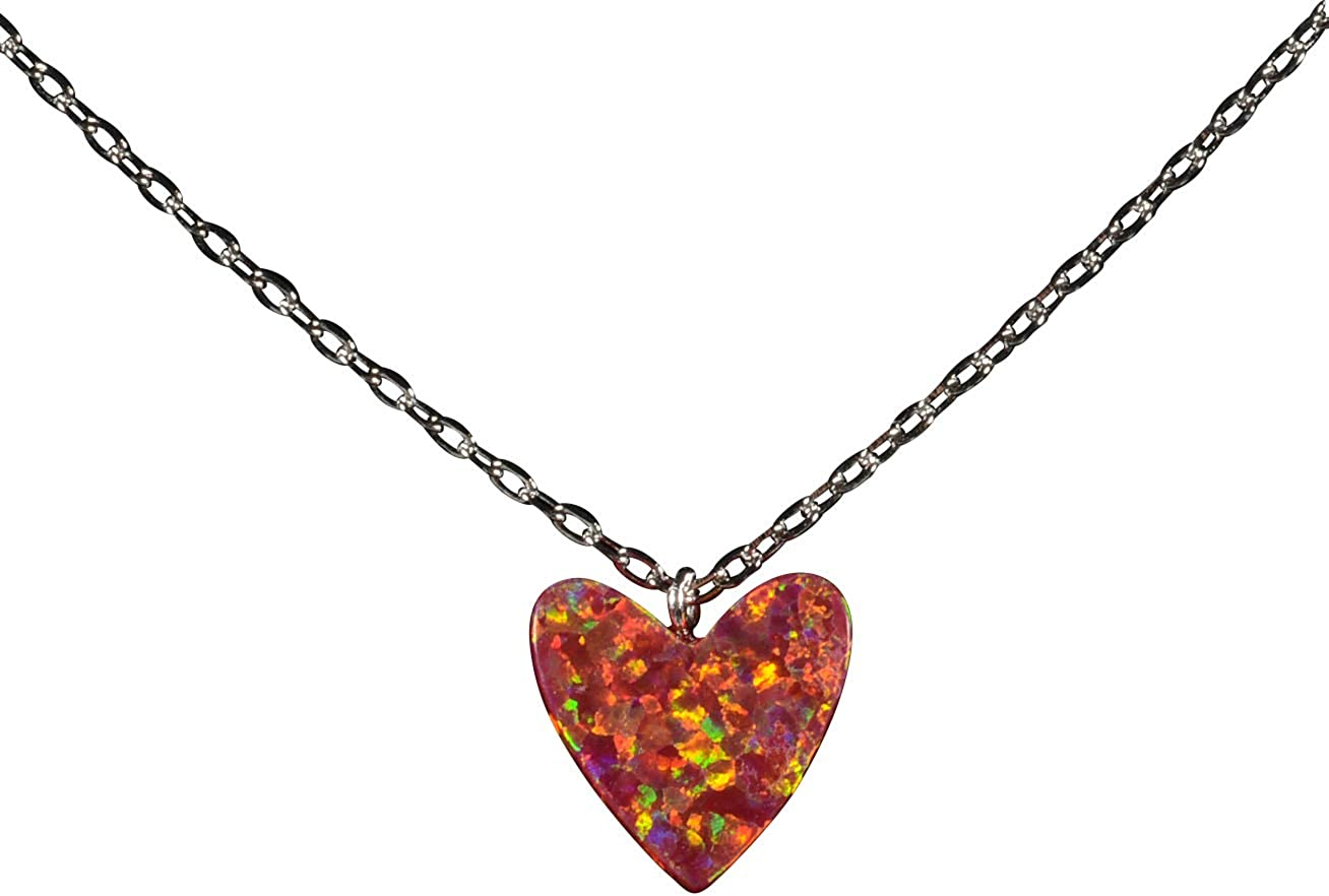 Infinity Lobster Clasp Blue Pave Opal Heart Sterling Silver Lariat Necklace Heart w 925 Blue Fire Opal Pendant w Opal CZ Pave Heart Center