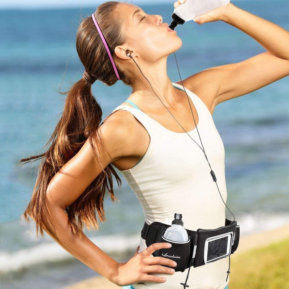 FORTR Home Landnics Running Belt, Gürtel mit Zwei 12oz-Wasserflaschen, multifunktionale Reißverschlusstaschen Hohe Sichtbarkeit Reflektierende wasserfeste Taille für Jogging-Fitness und Training