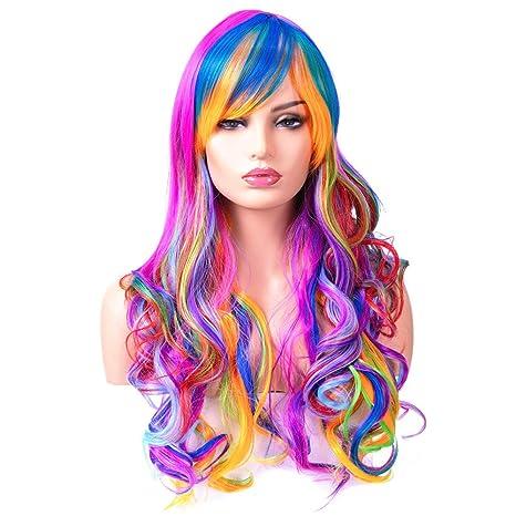 BESTUNG Peluca larga ondulada para mujer, pelo sintético, arco iris natural y colorida peluca