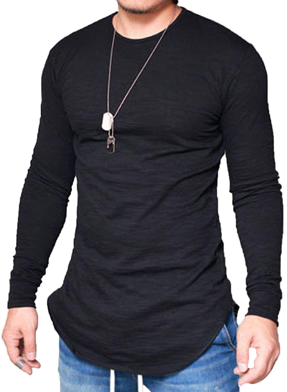 JOKHOO Mens Long Sleeve Hipster Hip Hop Basic Curved Hem T Shirt Black Medium by JOKHOO