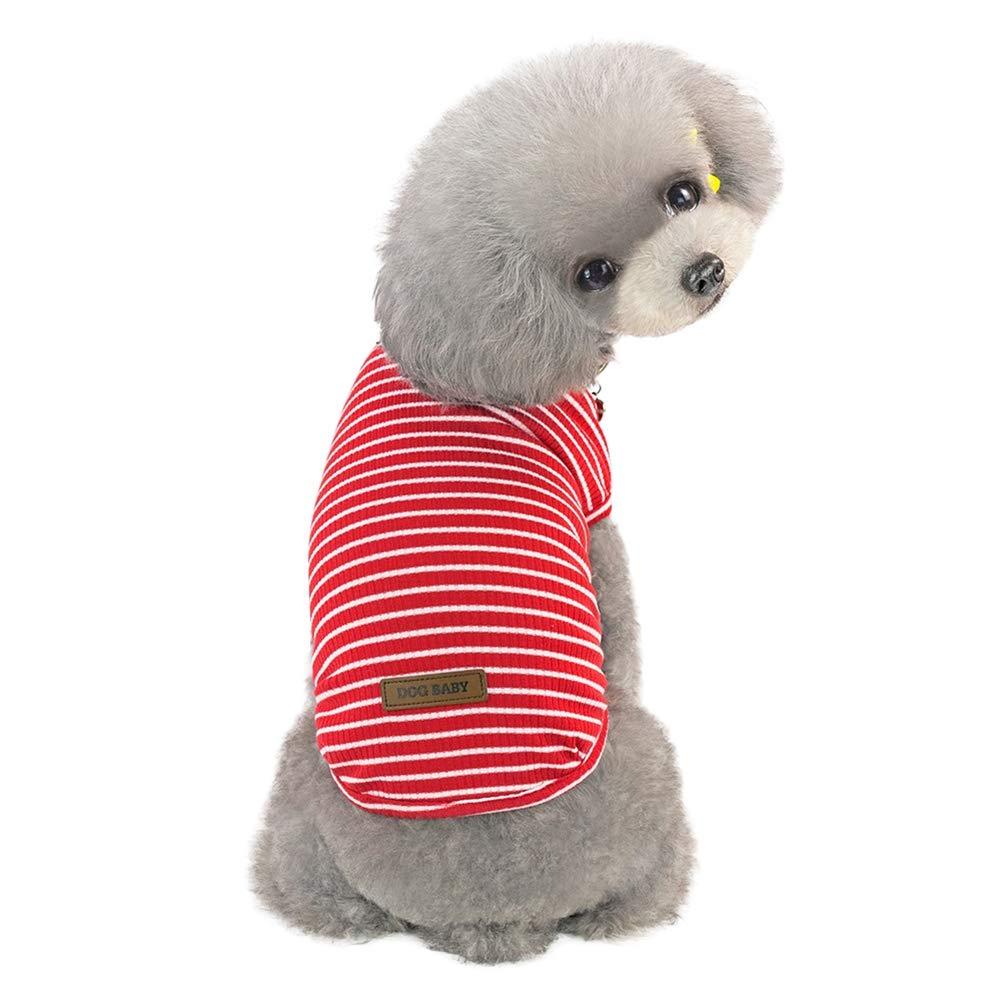 Handfly Perro peque/ño Cachorro Franja Camisetas Perro Chaleco Camiseta Perro Camiseta para Perro peque/ño Perros Camisetas de Verano Perro Mascota Chaleco Camiseta Ropa para Perros peque/ños Gatos