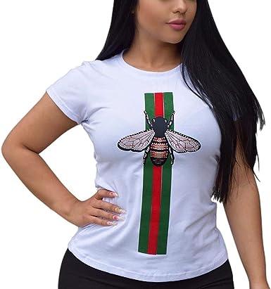 Camiseta De Verano De Cuello De Redondo Manga para Corta Mujeres Años 20 Camisas De Moda Slim Bee Patchwork Camisa De Punto para Mujer Blusa: Amazon.es: Ropa y accesorios