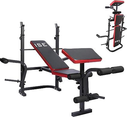 ISE Banco de Musculación Multifuncional Inclinable para Entrenamiento Completo, Banca de Peso Ajustable Plegable Fitness Doméstico para Casa, Máx 150KG SY-5430B