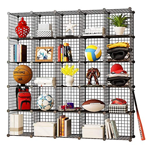 KOUSI Storage Cubes Wire Grid Modular Metal Cubbies Organizer Bookcases and Book Shelves Origami Multifunction Shelving Unit, Capacious Customizable (Black, 25 Cubes)