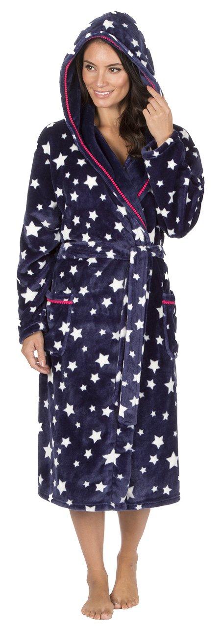 Mujer Polar Muy Suave Con Capucha Estampado Estrellas Bata Pijama product image