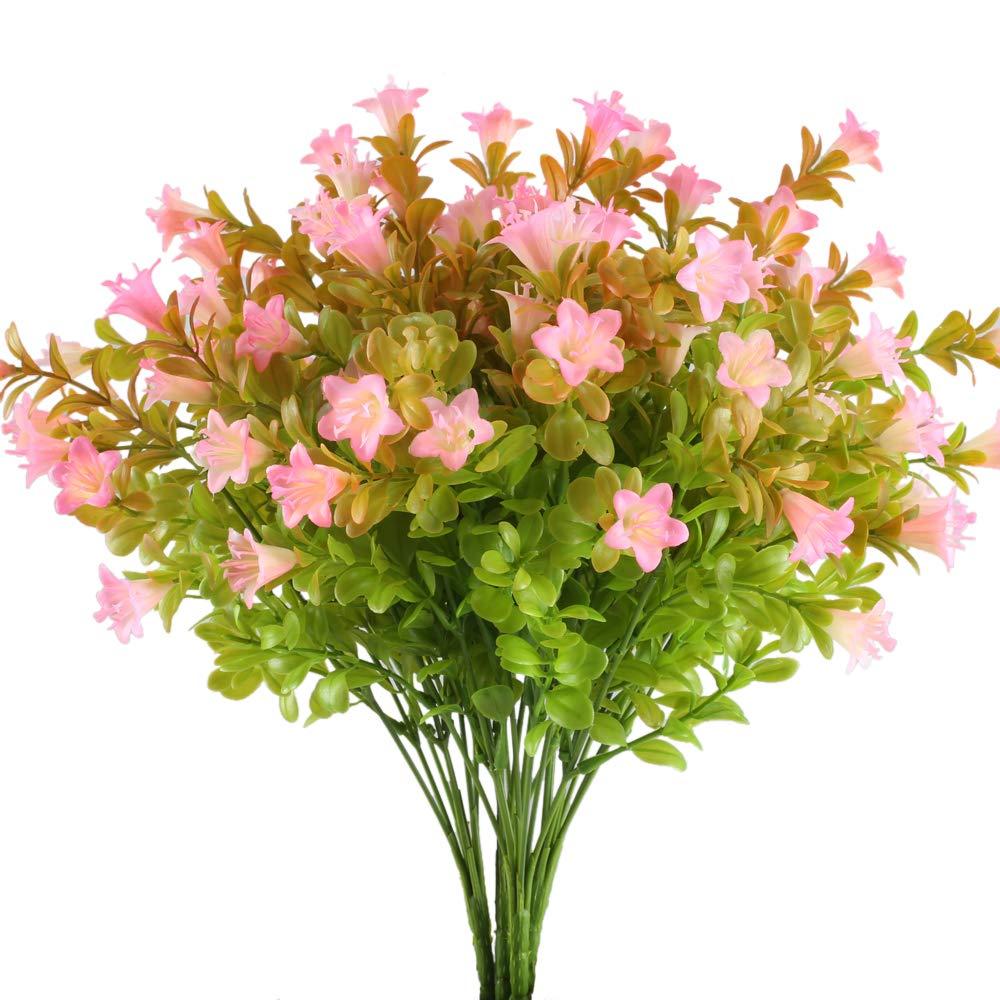 XYXCMOR-4pcs-Artificial-Lilies-Flowers-Plastic-Greenery-Plants-Fake-Floral-Bushes-Faux-Shrubs-Wedding-Table-Centerpieces-Arrangements-Indoor-Outdoor-Home-Garden-Windowsill-Door-Decoration