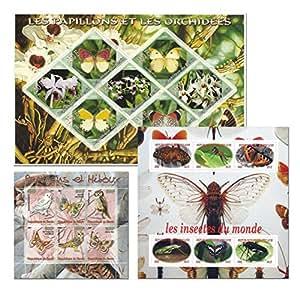 Insectos mariposas y flores sello naturaleza colección fija con 19 sellos de más de 3 hojas de menta