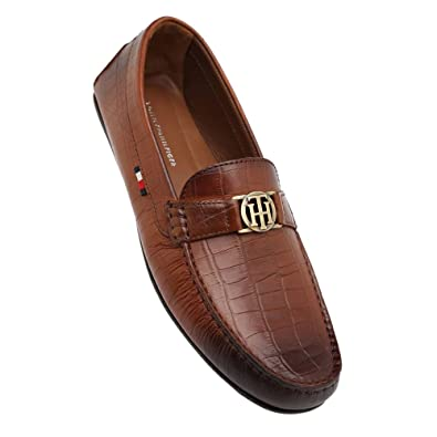 14911c044 Tommy Hilfiger Men s Tan Leather Loafers and Moccasins - 10.5 UK India (45  EU)  Buy Online at Low Prices in India - Amazon.in