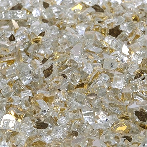 Casino Gold Metallic Fire Glass - 1/4 Inch Reflective FireGlass - 10 Pounds - Designed for Fire Pits and Fireplaces
