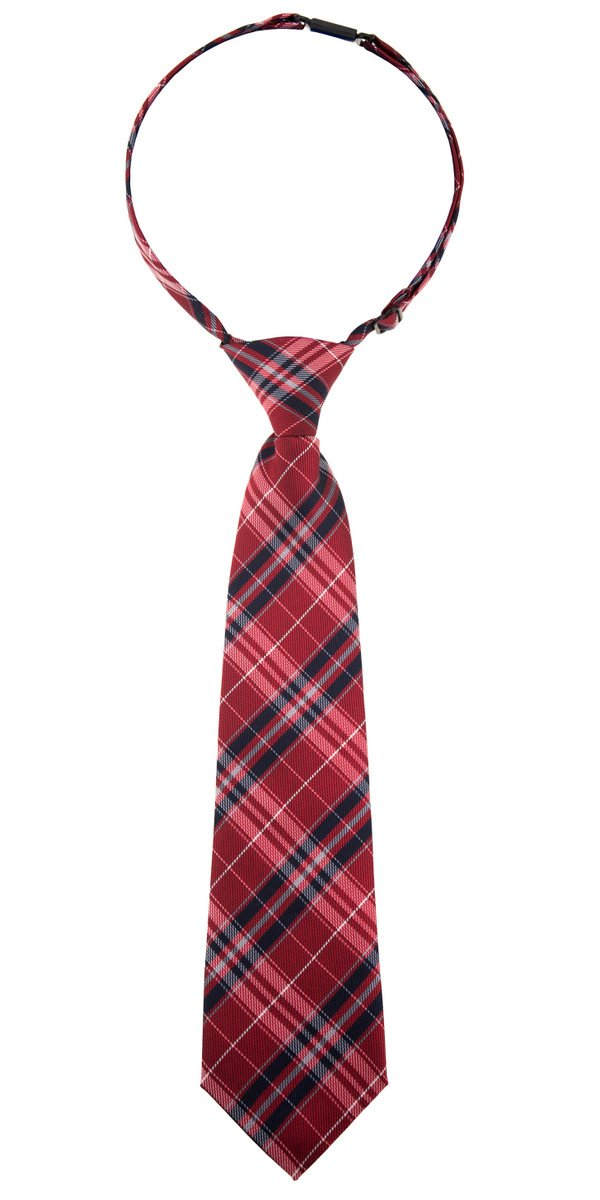 Retreez Stylish Plaid Checkered Woven Microfiber Pre-tied Boy's Tie - Red and Navy Blue - 4-7 years