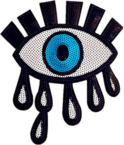 2pc//set Eyeball Eye Sequin Embroidered Fashion White Iron On Patch DIY Large