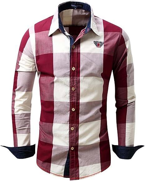 Mena UK Ocio Camisa Hombre 100% Algodón Textura Avanzada Camisa A Cuadros (Color : Rojo, Tamaño : L): Amazon.es: Deportes y aire libre