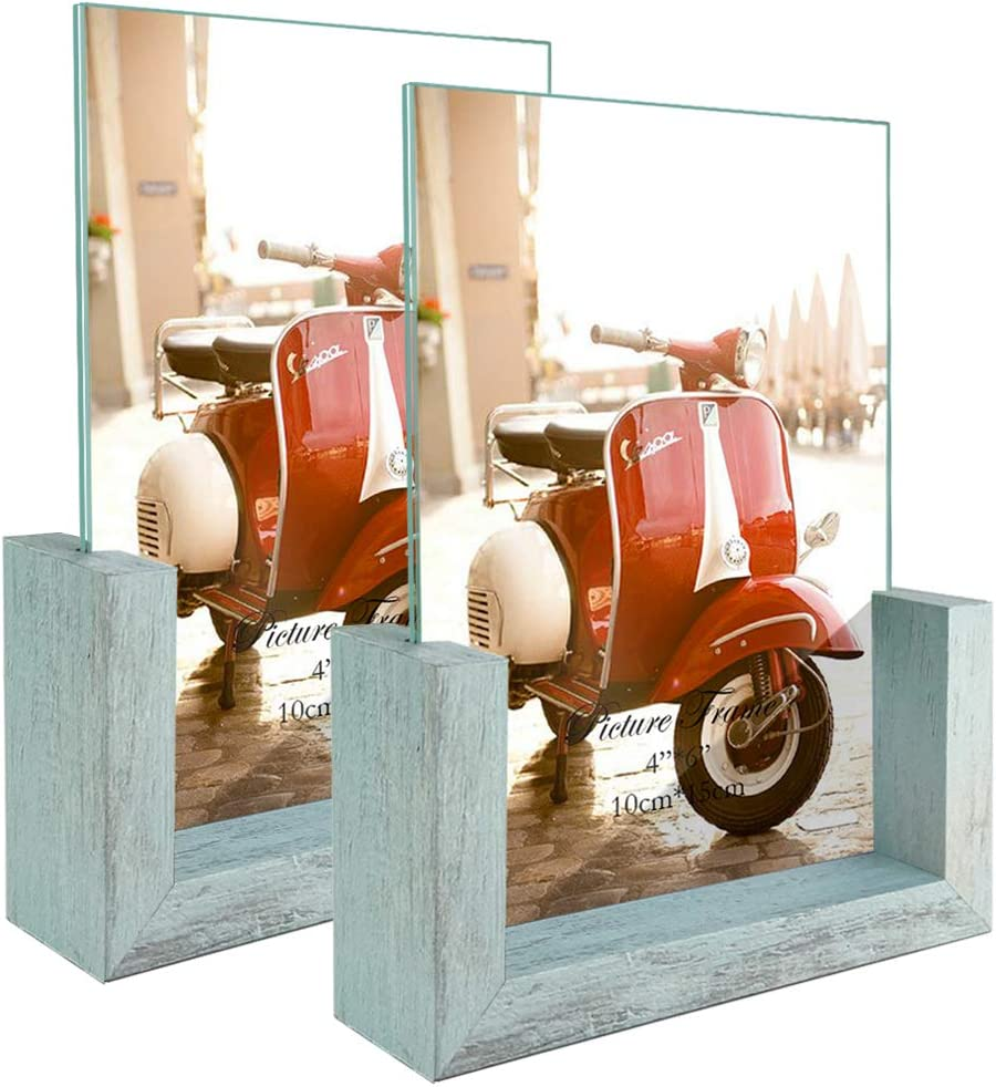 HORLIMER 4x6 Picture Frames Set of 2, Rustic Photo Frame with Wooden Base and Tempered Glass for Tabletop