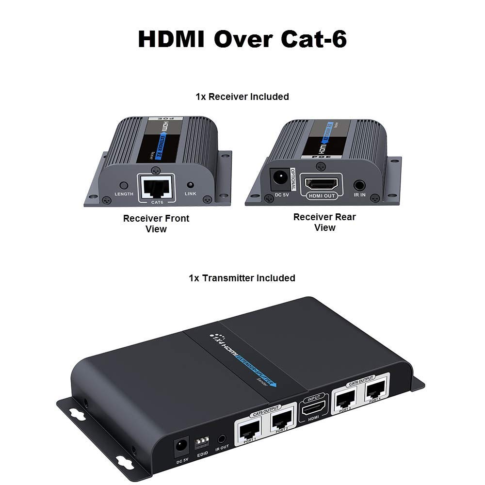 Cctv Camera Pros Hdmi To Cat6 Ethernet Cable 1x4 Hdmisuperextendercat6wiringdiagramjpg Splitter Extender Ir Remote Home Audio Theater