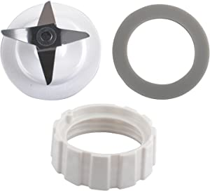 Wadoy Blade for Hamilton Beach Blender Replacement Mixer Parts with Screw Cap and Rubber Gasket, White