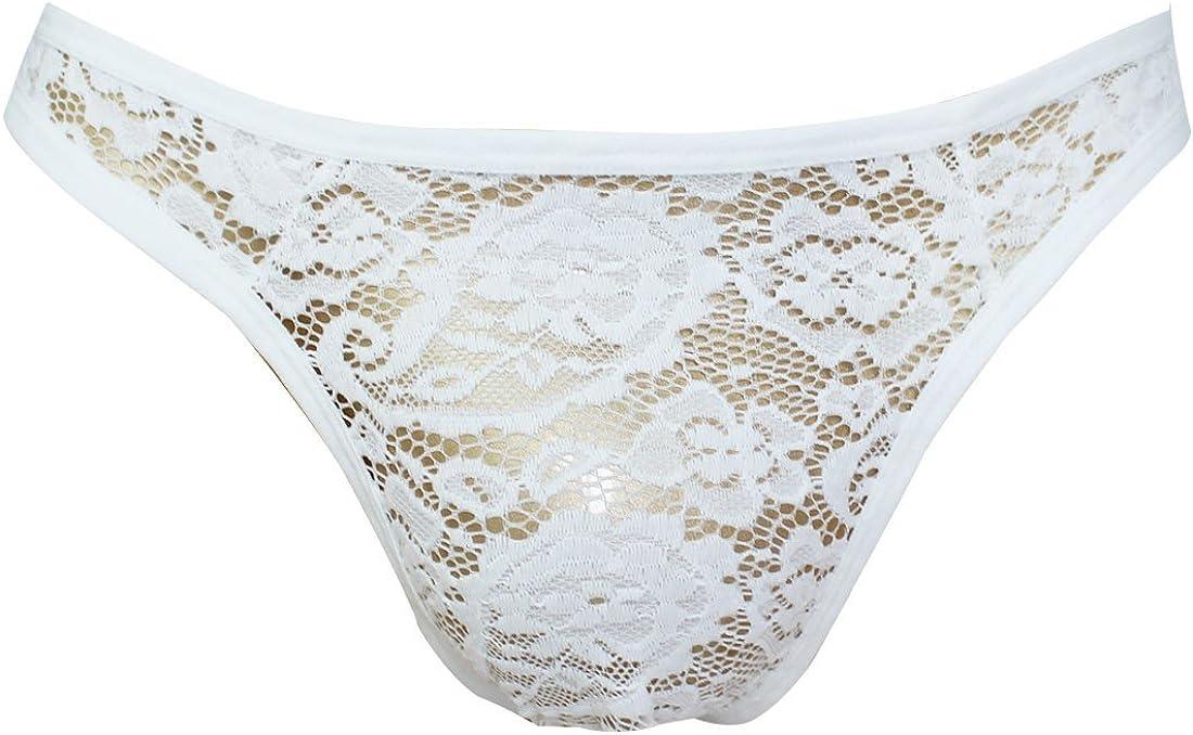 Freebily Sissy Mens Floral Lace Thong Briefs Underwear Bikini Panties