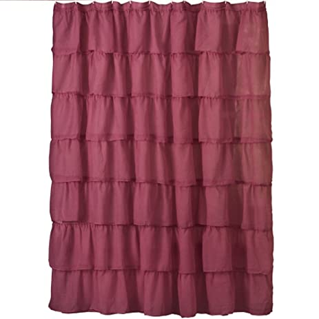 Ruffled Sheer Bathroom Shower Curtain Burgundy