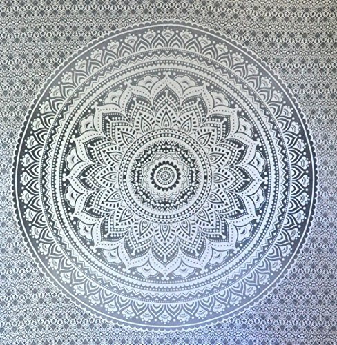 Exclusive ''Gray Ombre Tapestry by JaipurHandloom'' Mandala Tapestry, Queen, Multi Color Indian Mandala Wall Art, Hippie Wall Hanging, Bohemian Bedspread