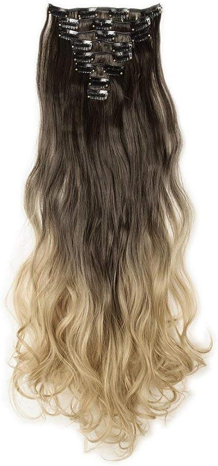 Extensiones de cabello Clip rizado Shatush Largo 60cm Marrón a rubio oscuro Ombre 8 Diadema Extensiones de cabello Ondulado Tinte profundo