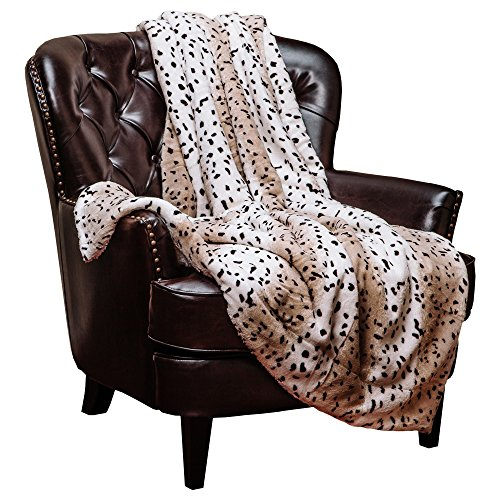 Chanasya Super Soft Cozy Warm Leopard Print Brown and Gray Sherpa Throw Blanket - White and Brown Faded Leopard Stripe Pattern