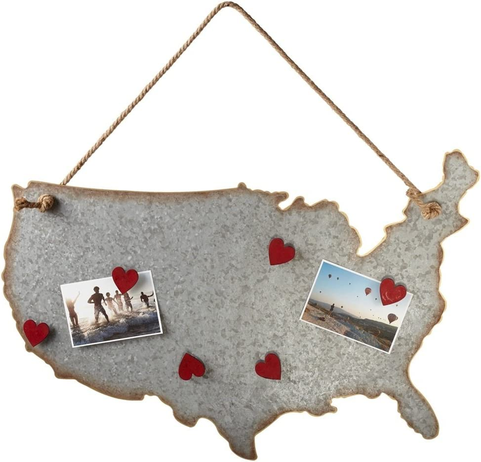"""Diva At Home Set of 2 Metallic and Brown USA Map Magnet Board with Red Heart Magnets 30"""""""