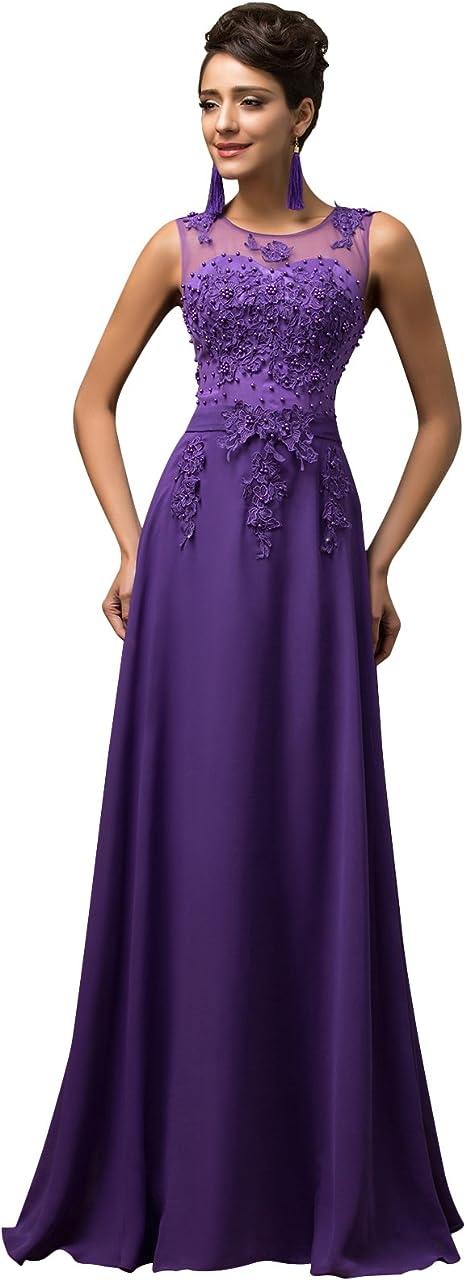 Lange Damen Abendkleider Ballkleider Partykleider /Ärmellos Chiffon Kleid f/ür Hochzeit Brautjungfer Cl7555-5 52 Gr