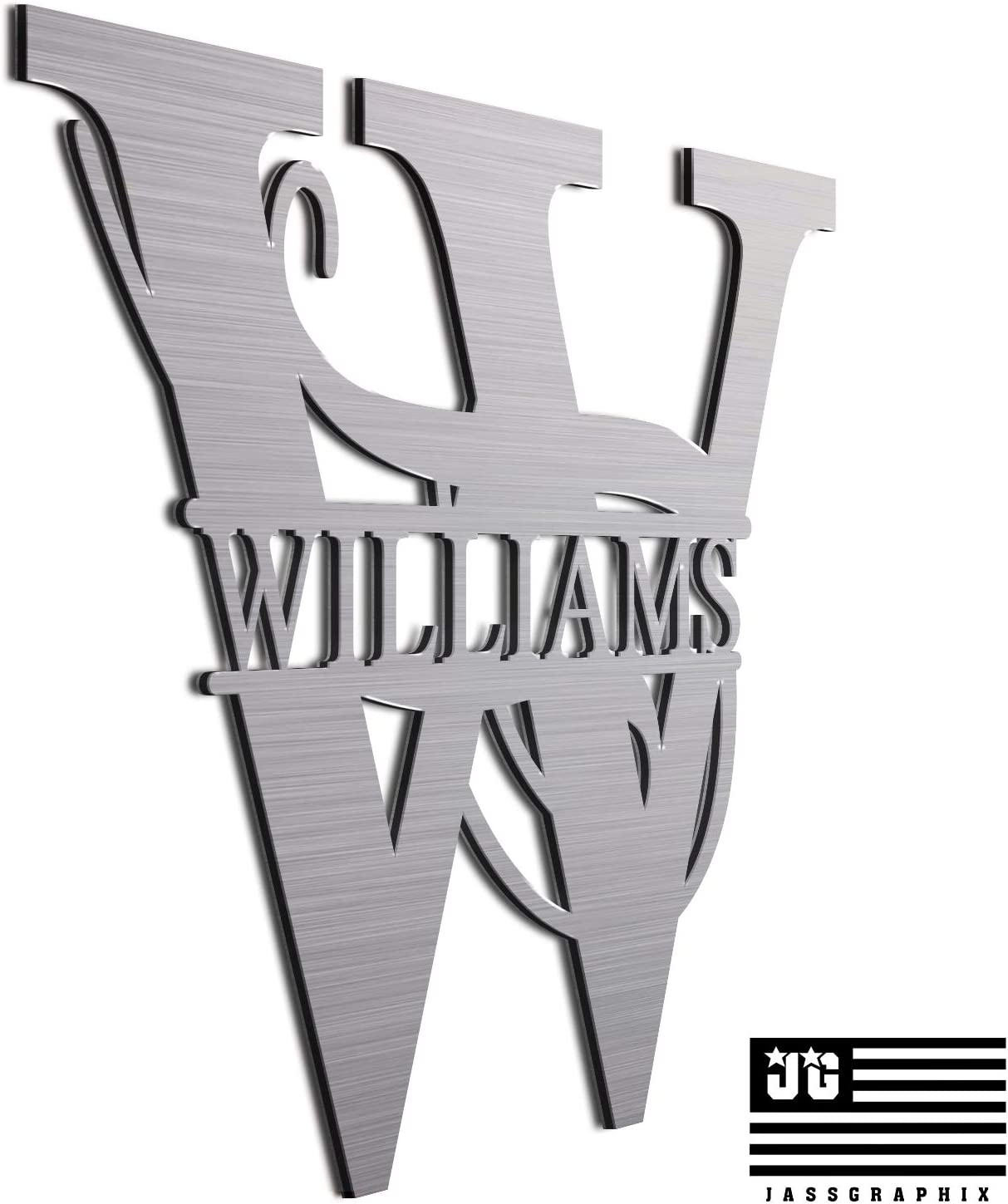 """JASS GRAPHIX Williams 12"""" Brushed Aluminum Monogrammed Sign Door Wall Decor Last Name Signs for Home"""