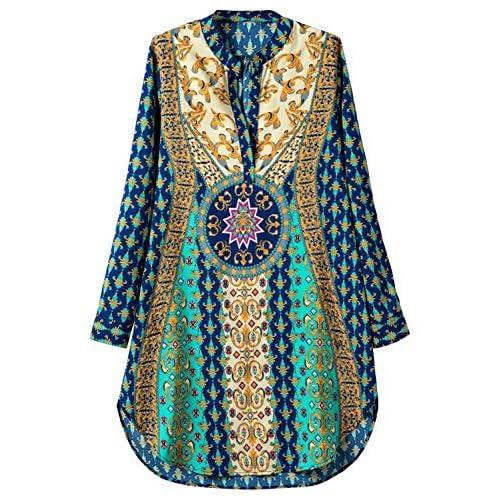 Futurino Women's Bohemian V Neck Side Slit Tribal Print Shift Mini Dress supplier