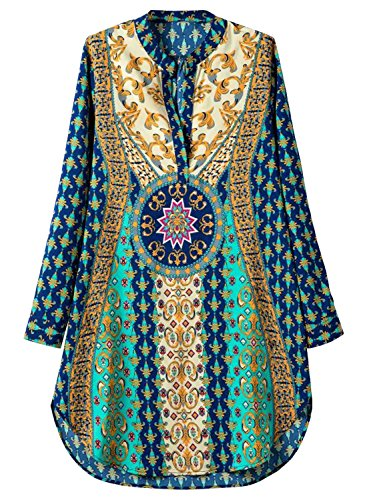 [Futurino Women's Bohemian V Neck Side Slit Tribal Print Shift Mini Dress] (Hippie Dress)