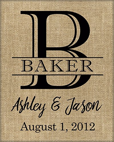 ♥ Wedding Gift / Personalized Wedding Gift / Family Name Sign / Burlap monogram / gift for bride / Last Name Establish / Rustic Wedding Sign ♥