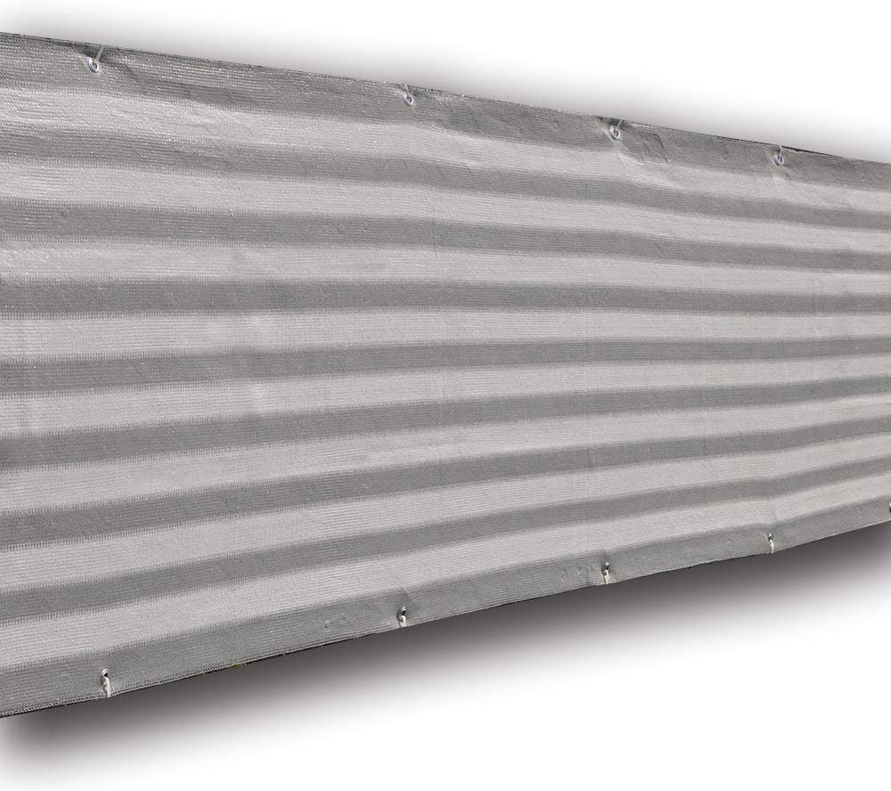 Alion Home Elegant Privacy Screen Windscreen Mesh for Pool, Patio, Deck, Balcony Railing, Fence, Porch. Grey&White (30''x 16')
