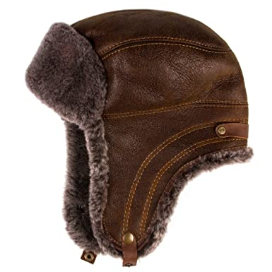 Men s Sheepskin Leather Bomber Hat Winter Trapper Ushanka Aviator Russian  Hats 8f396133bb5d