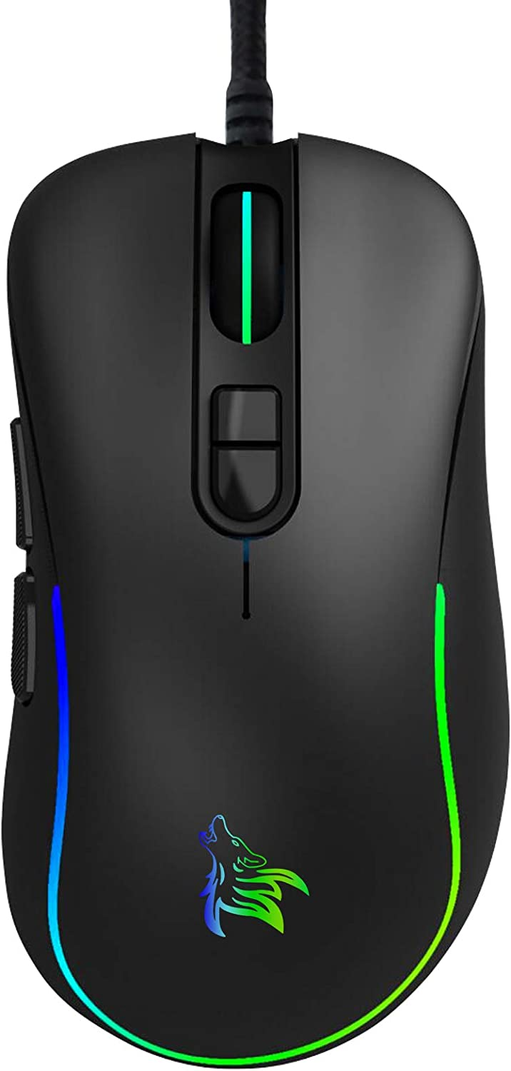 USB Computer Mice,RGB Optical Backlit USB Wired Mouse,6400 DPI 7 Buttons Premium and Portable Office and Home Mice Compatible with Windows PC, Laptop, Desktop,Notebook
