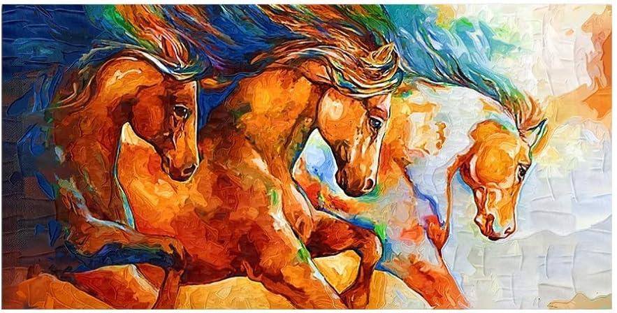 LXDCPP 1 Pieza De Pintura De Lienzo De Inyección De Tinta De Un Solo Artee Animal Colorido Resumeno Carteel De Carreras De Caballos para Sala De Estar, 60x120cm, Sin Marco