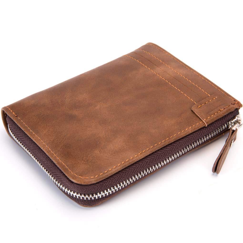Uomini Retro Zipper Wallet Mini PU hangborsa Porta carte di credito portamonete portatile Pouch RFID Blocking