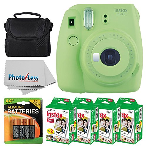 Fujifilm instax mini 9 Instant Film Camera (Lime Green) + Fujifilm Instax Mini Twin Pack Instant Film (80 Shots) + Camera Case + AA Batteries + Accessory Bundle - International Version (No Warranty) by Fujifilm