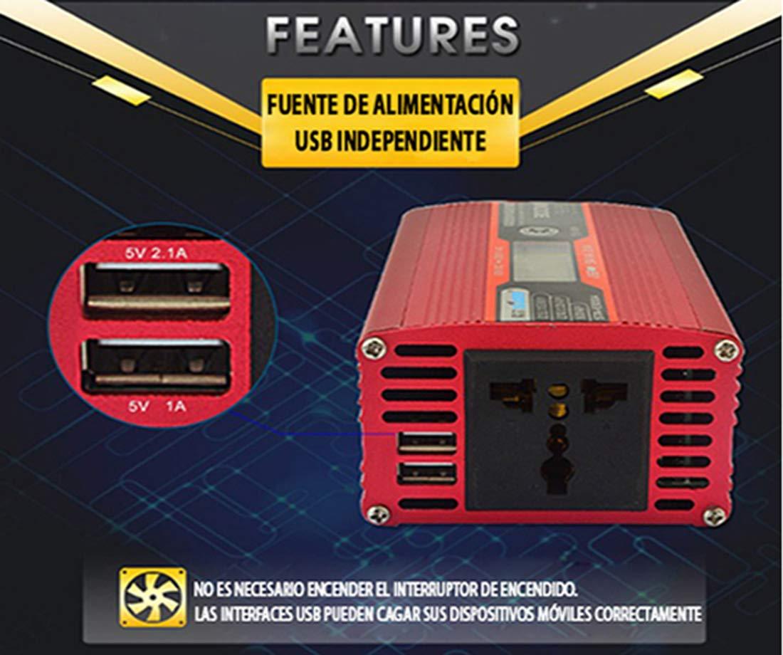 LÍDER.-300W600W Inversor de Corriente Onda sinusoidal con Alarma de batería, convertidor DC 12A a AC220V para Coche con 2 Salidas USB 5V/1.A -2.1A, ...