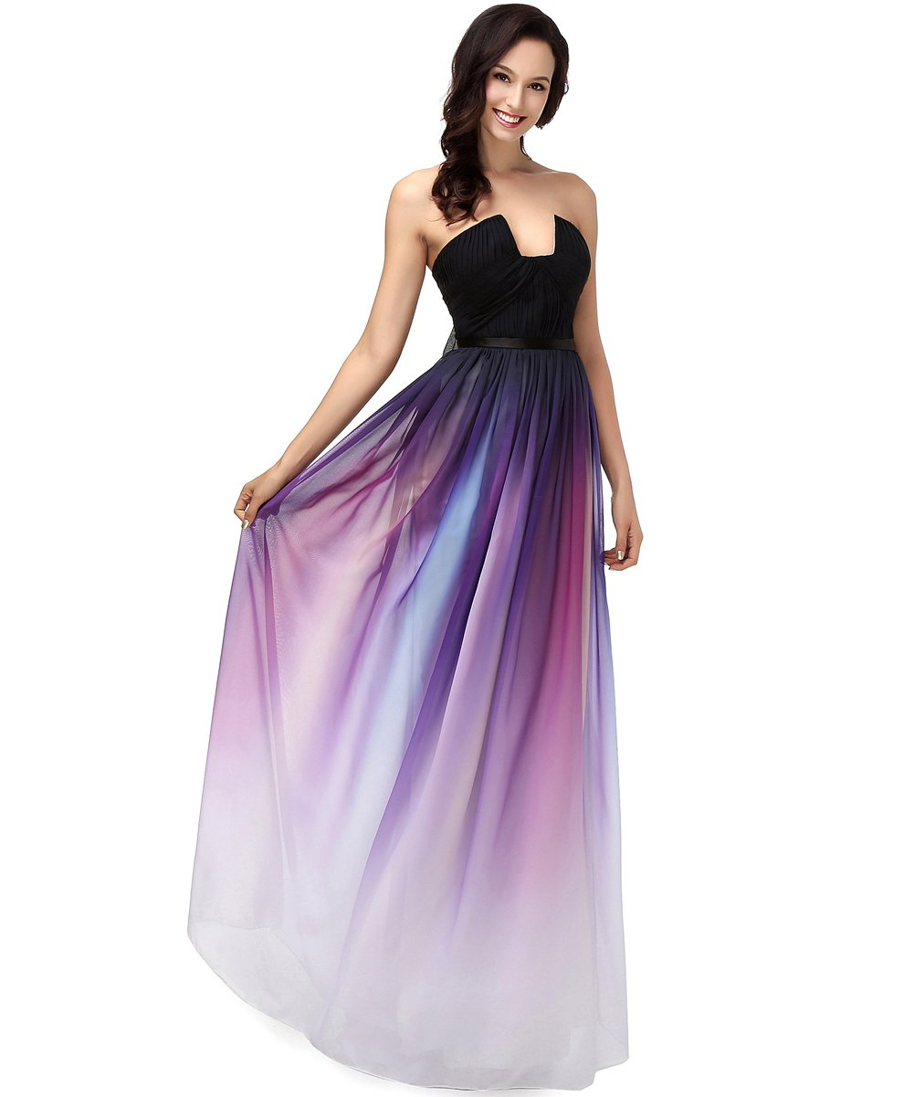 Amazon.com: Annie\'s Bridal Women\'s Rainbow Chiffon Formal Evening ...